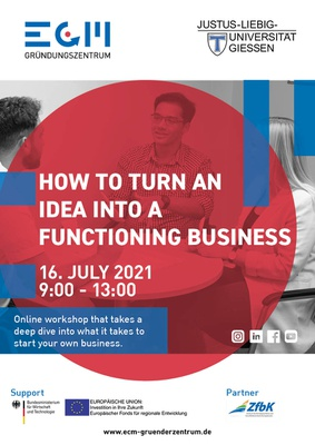 """Poster for """"How to turn an idea into a functioning business"""""""
