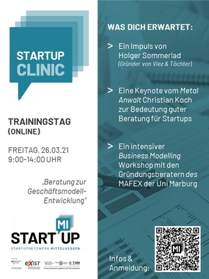 StartUp Clinic Trainingstag Flyer