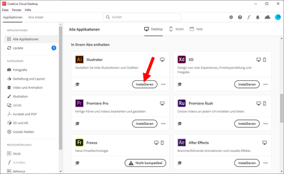 Adobe Applikation installieren