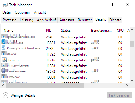 Taskmanager java.exe