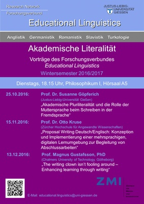 Programm Educational Linguistics im Wintersemester 2018/19