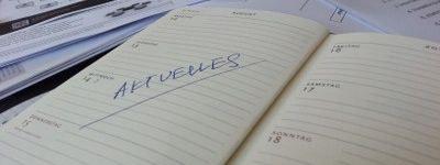 Zierbild: Terminkalender mit Eintrag 'Aktuelles'