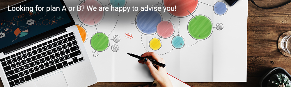 Slider: Photo which shows hands drawing a mind map on a poster. Inscription: Looking for plan A or B? We are happy to advise you!