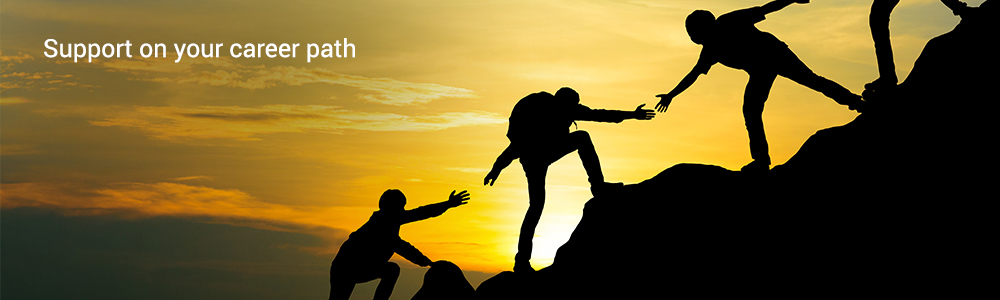 Slider: Photo showing climbers holding hands with the inscription: Support on your career path